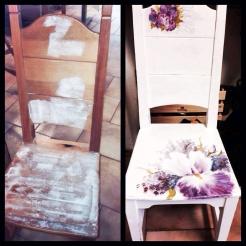 Renovering pågår… Passar fint i hallen, stolen 900 kr handmålad, hängaren 250 kr