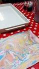 Marmorering av papper – förra veckans projekt på Karins Döttrars öppna onsdagskvällar.