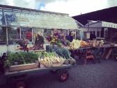 Blommor, grönsaker och mathantverk fanns till försäljning på Lärjes bord.